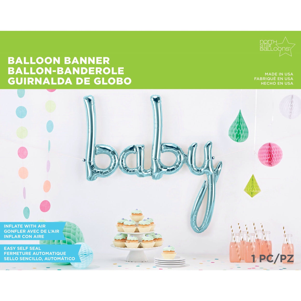 BALLOONS - SCRIPT BABY LIGHT BLUE, Balloons, Northstar (Surprize Enterprize) - Bon + Co. Party Studio