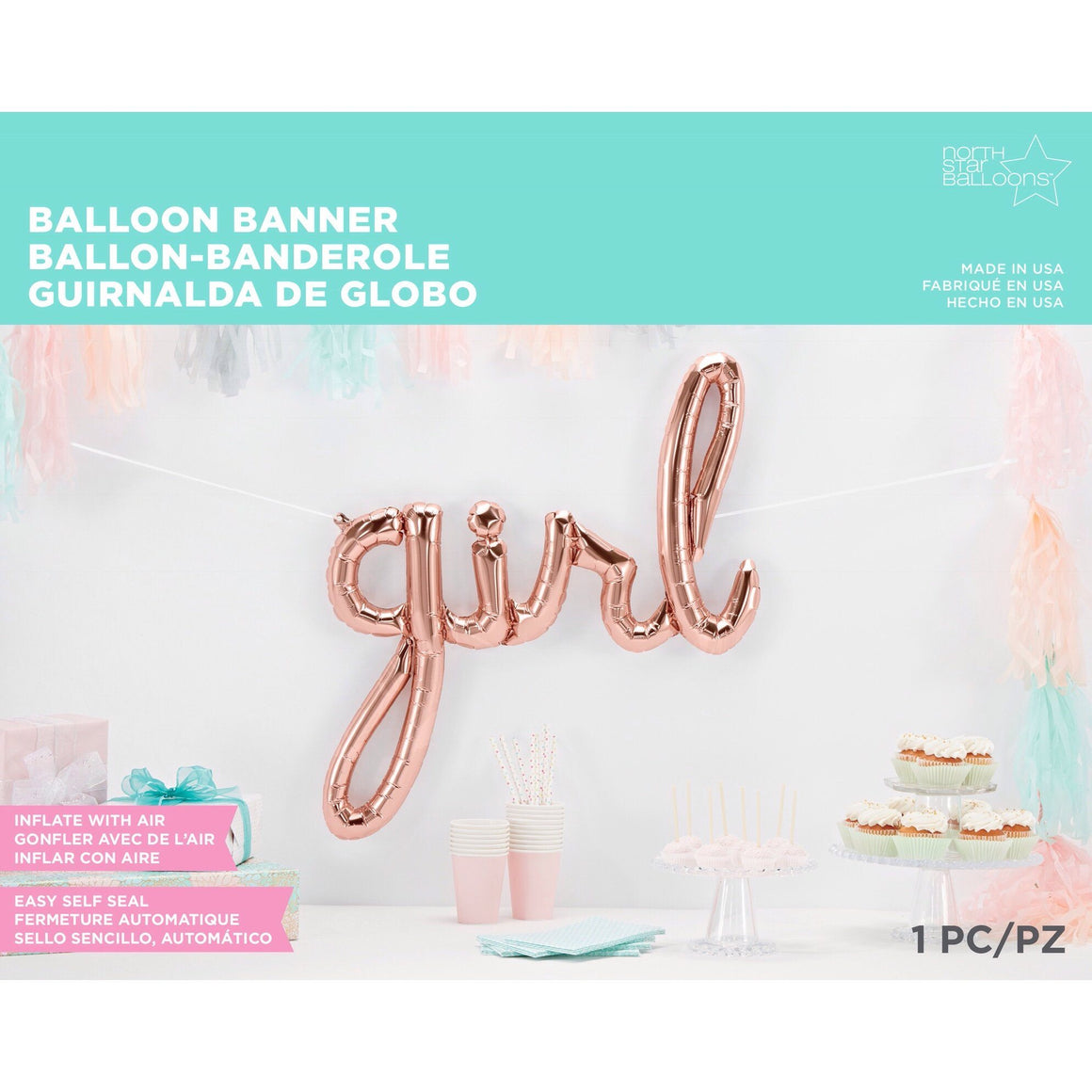 BALLOONS - SCRIPT ROSE GOLD GIRL, Balloons, Northstar (Surprize Enterprize) - Bon + Co. Party Studio