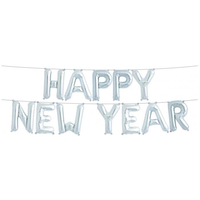 BALLOON BANNER - HAPPY NEW YEAR SILVER, Balloons, Northstar (Surprize Enterprize) - Bon + Co. Party Studio