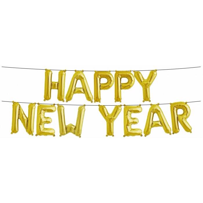 BALLOON BANNER - HAPPY NEW YEAR GOLD, Balloons, Northstar (Surprize Enterprize) - Bon + Co. Party Studio