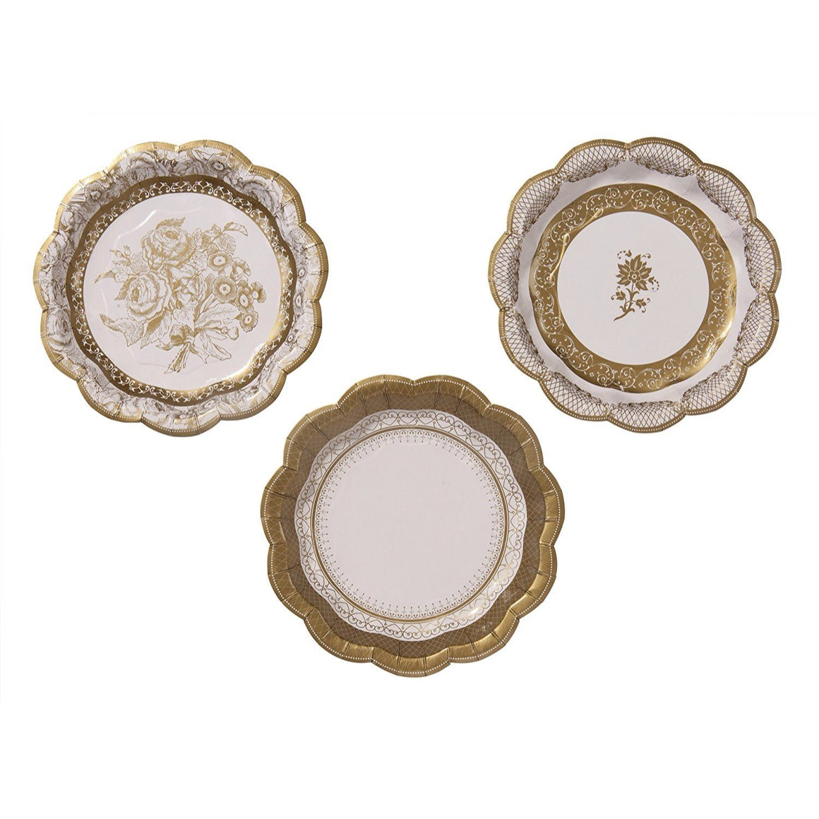 PLATES - SMALL TRIO PARTY PORCELAIN GOLD
