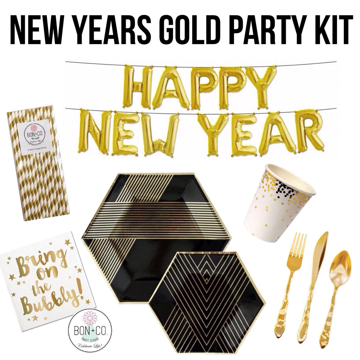 PARTY KIT - NEW YEARS GOLD, Party Kit, Bon + Co. Party Studio - Bon + Co. Party Studio