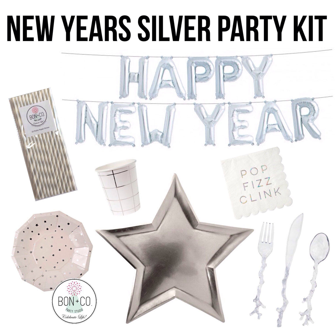 PARTY KIT - NEW YEARS SILVER, Party Kit, Bon + Co. Party Studio - Bon + Co. Party Studio