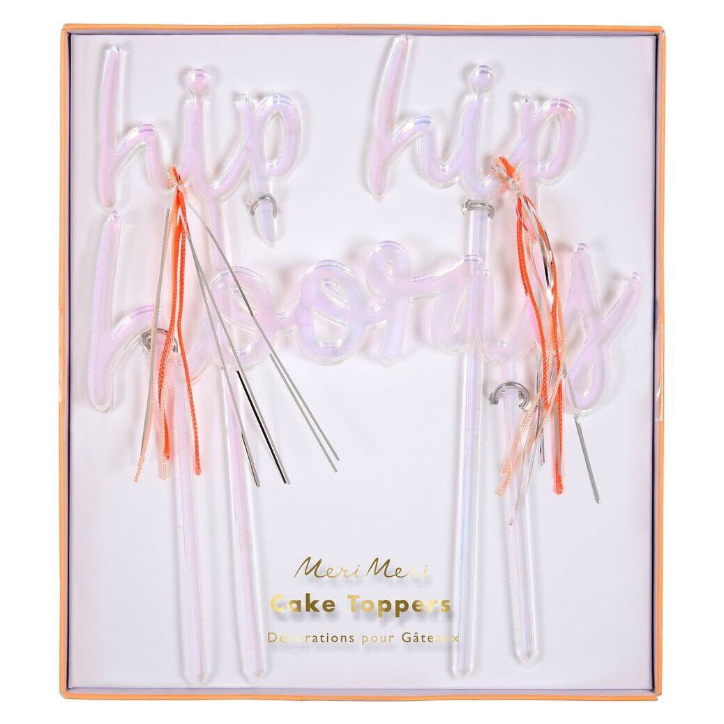 CAKE TOPPER - ACRYLIC HIP HIP HOORAY MERI MERI, Picks + Toppers, MERI MERI - Bon + Co. Party Studio