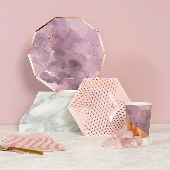 NAPKINS - LARGE AMETHYST PINK ROSE GOLD STRIPE