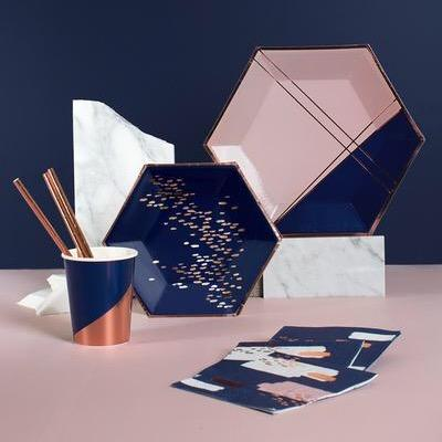 NAPKINS - COCKTAIL ERIKA NAVY ABSTRACT