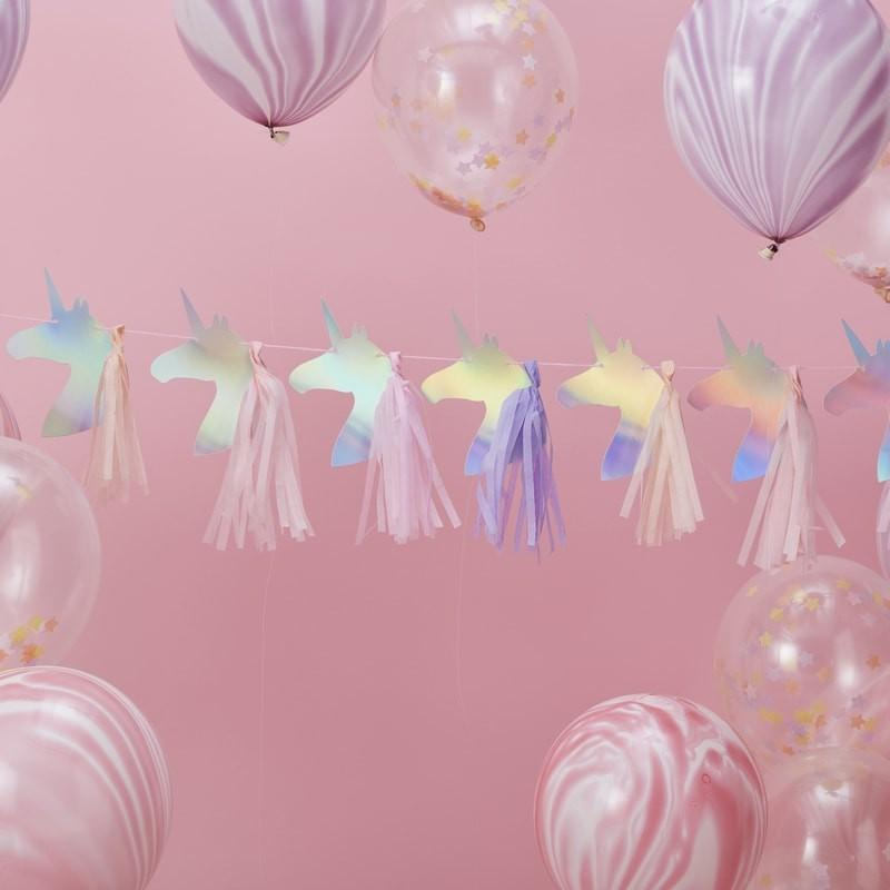 GARLAND - UNICORN IRIDESCENT WITH TASSELS, Buntings, GINGER RAY - Bon + Co. Party Studio