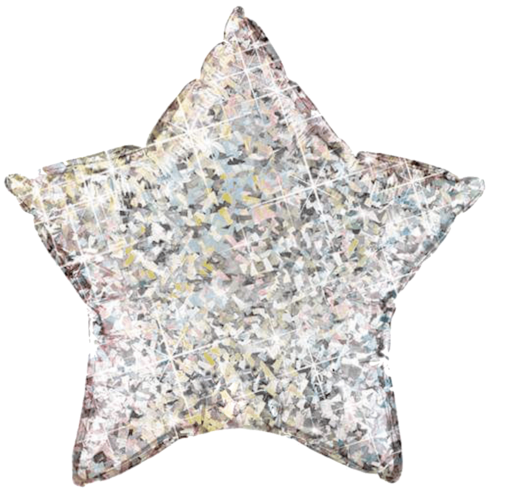 BALLOONS - STAR DAZZLER HOLOGRAPHIC SILVER, Balloons, QUALATEX - Bon + Co. Party Studio