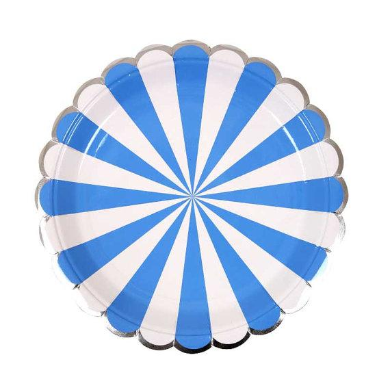 PLATES - SMALL PINWHEEL BLUE STRIPE