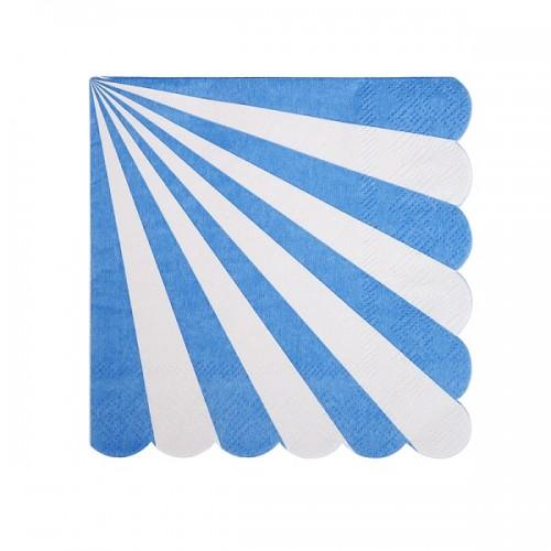 NAPKINS - COCKTAIL PINWHEEL BLUE STRIPE