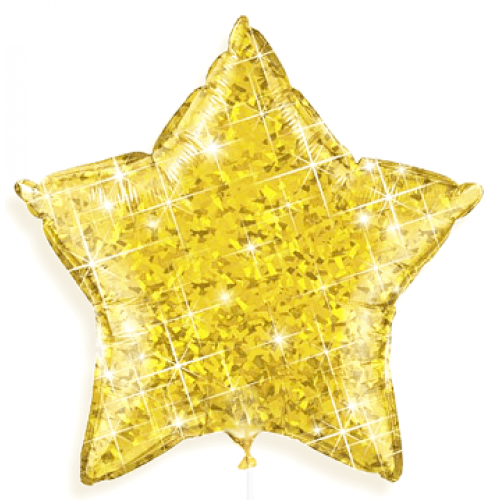 BALLOONS - STAR DAZZLER HOLOGRAPHIC GOLD, Balloons, QUALATEX - Bon + Co. Party Studio