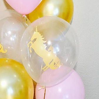 "BALLOON BAR - 11"" GOLD UNICORN ON CLEAR, Balloons, QUALATEX - Bon + Co. Party Studio"