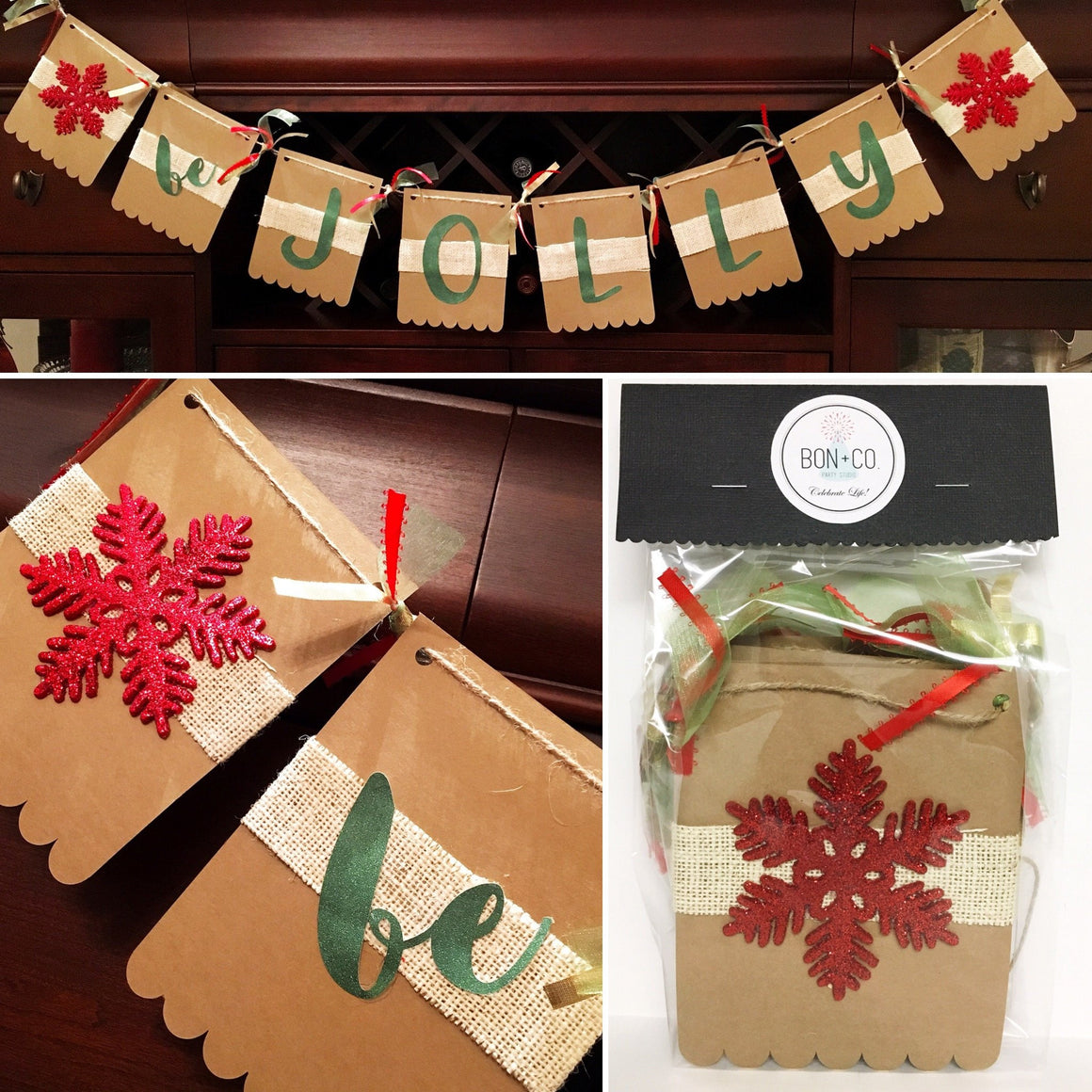BE JOLLY BURLAP GARLAND, Specialty Garlands, BON + CO - Bon + Co. Party Studio