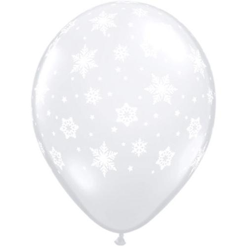 "BALLOON BAR - SNOWFLAKES WHITE ON CLEAR 11"", Balloons, QUALATEX - Bon + Co. Party Studio"