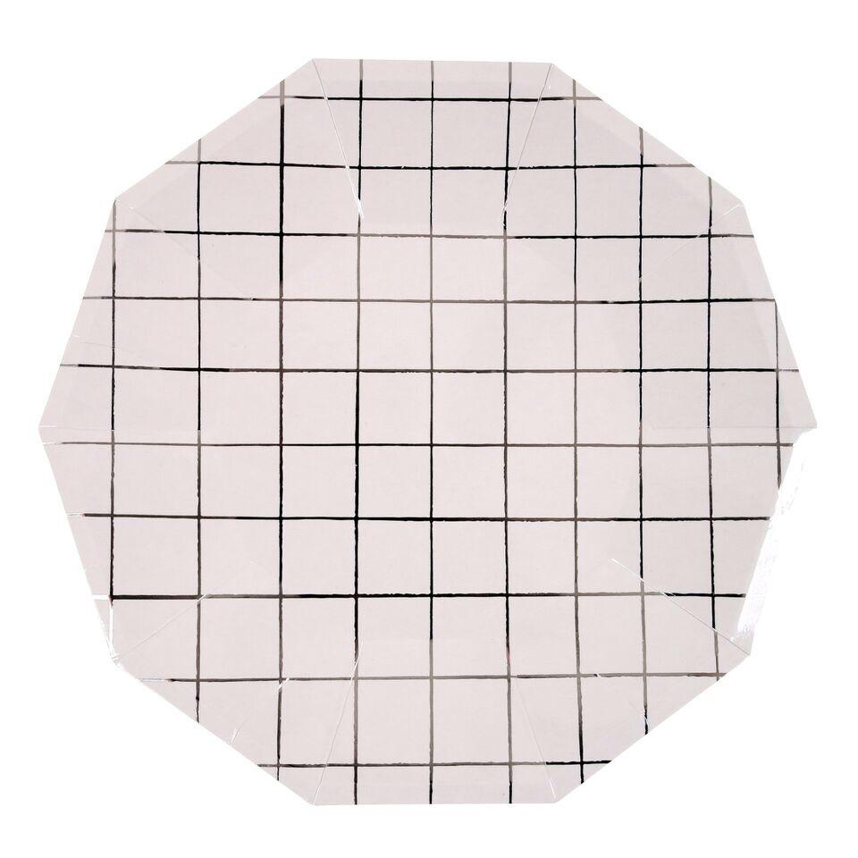 PLATES - LARGE SILVER GRID