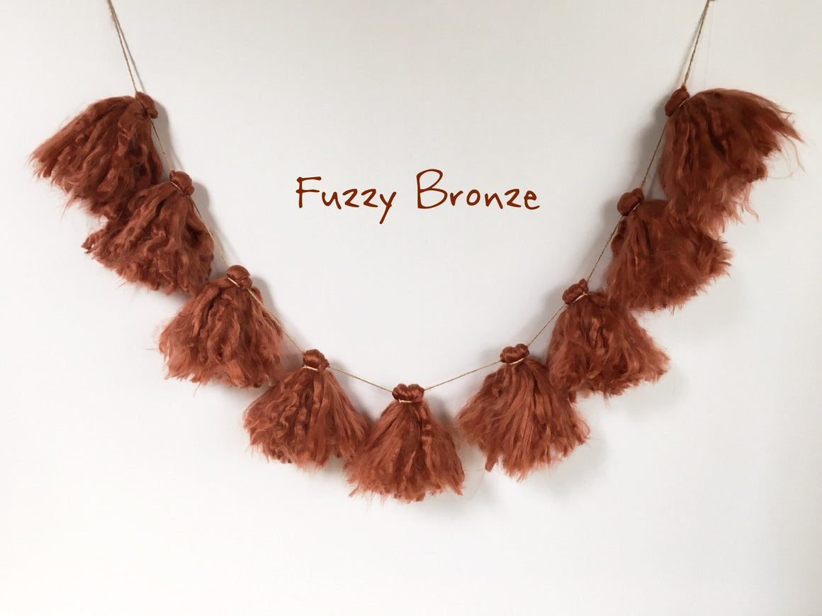 FUZZY BRONZE TASSEL GARLAND, Tassel Garland, BON + CO - Bon + Co. Party Studio