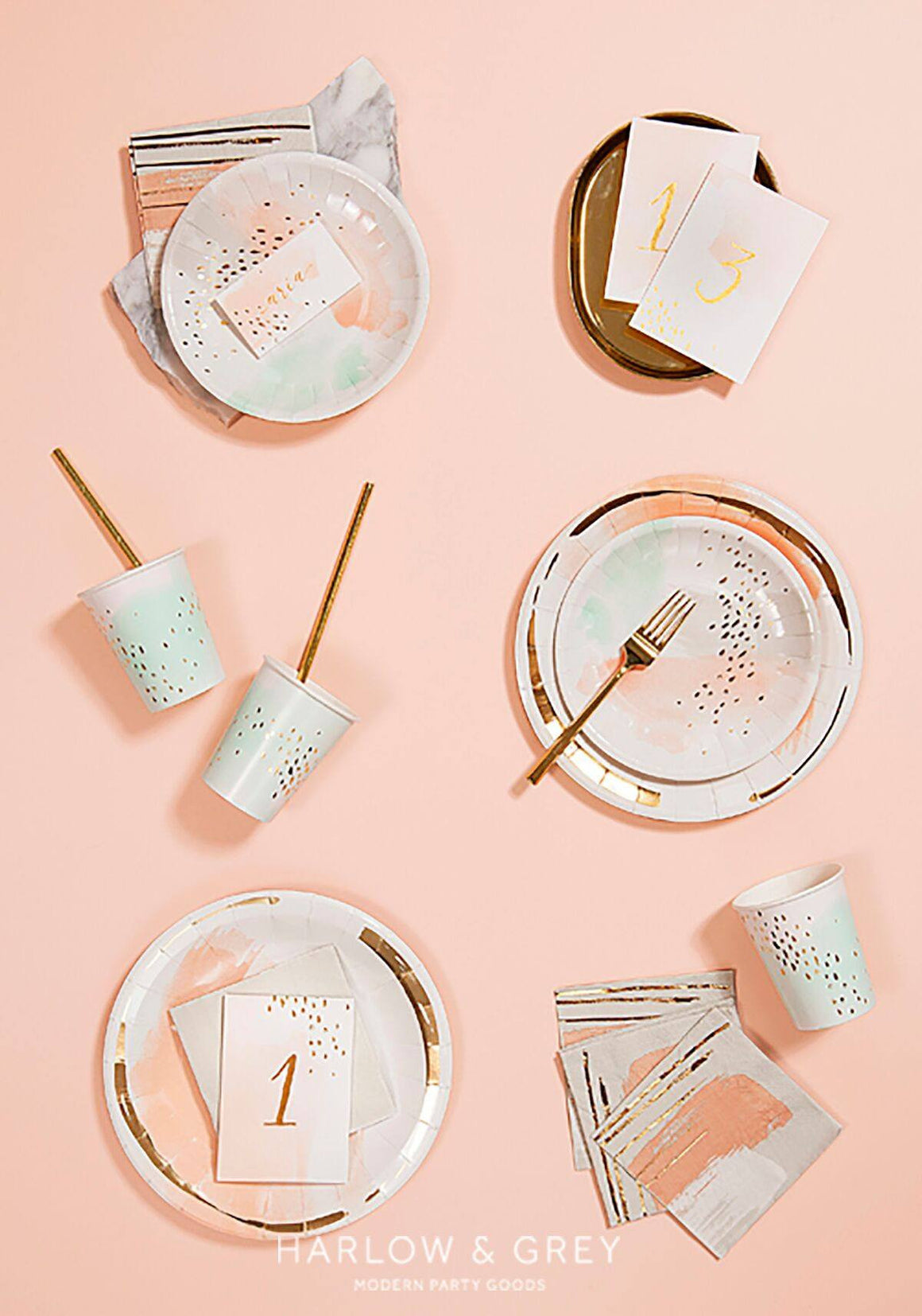 CUPS - DAYDREAM WATERCOLOUR, CUPS, HARLOW & GREY - Bon + Co. Party Studio