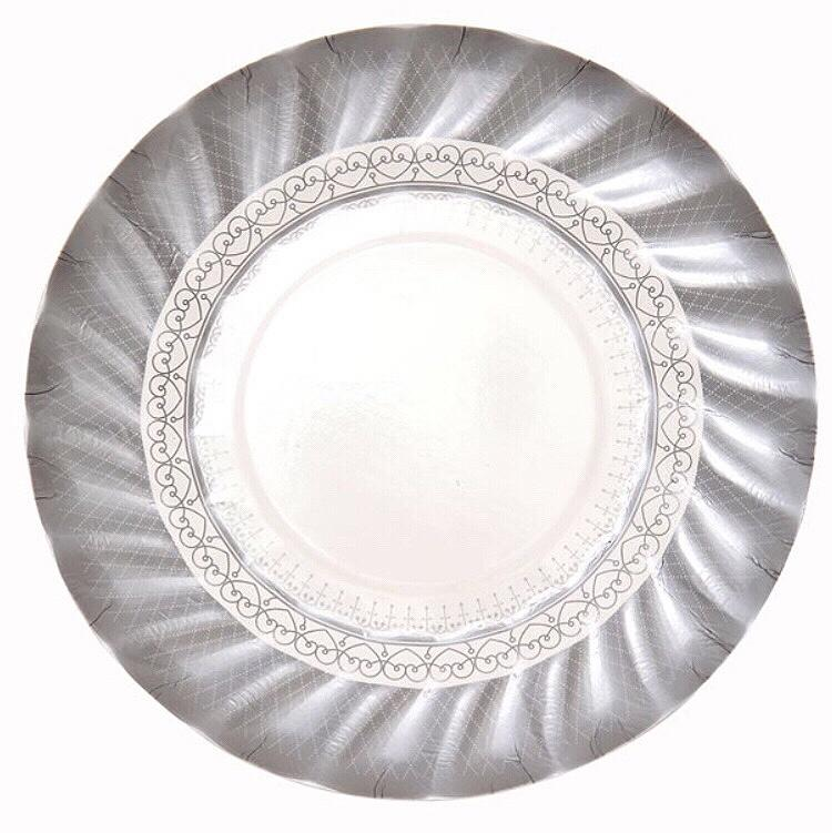 PLATES - SMALL TRIO PARTY PORCELAIN SILVER