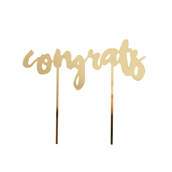 CONGRATS GOLD MIRRORED CAKE TOPPER, Picks + Toppers, HARLOW & GREY - Bon + Co. Party Studio