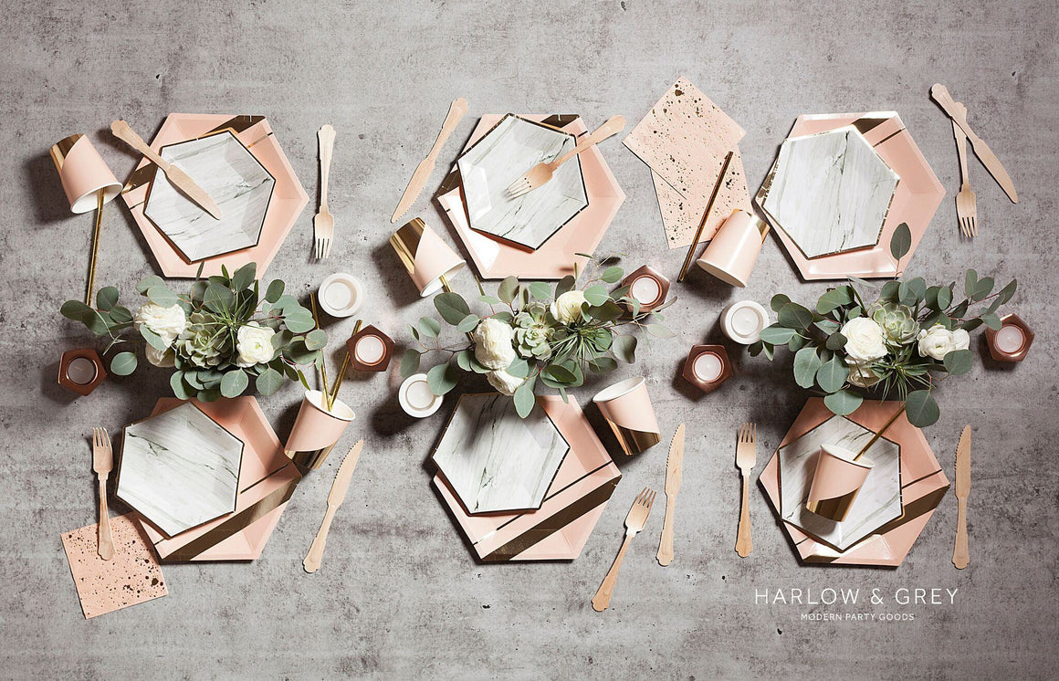 GODDESS BLUSH LARGE HEXAGON PLATES, PLATES, HARLOW & GREY - Bon + Co. Party Studio