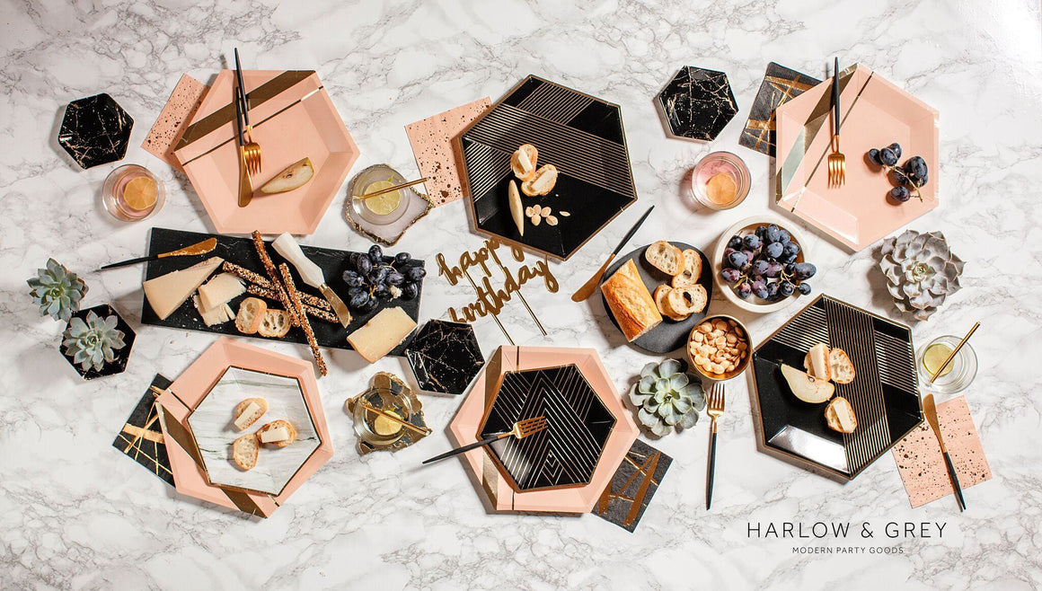 HAPPY BIRTHDAY GOLD MIRRORED CAKE TOPPER, Picks + Toppers, HARLOW & GREY - Bon + Co. Party Studio