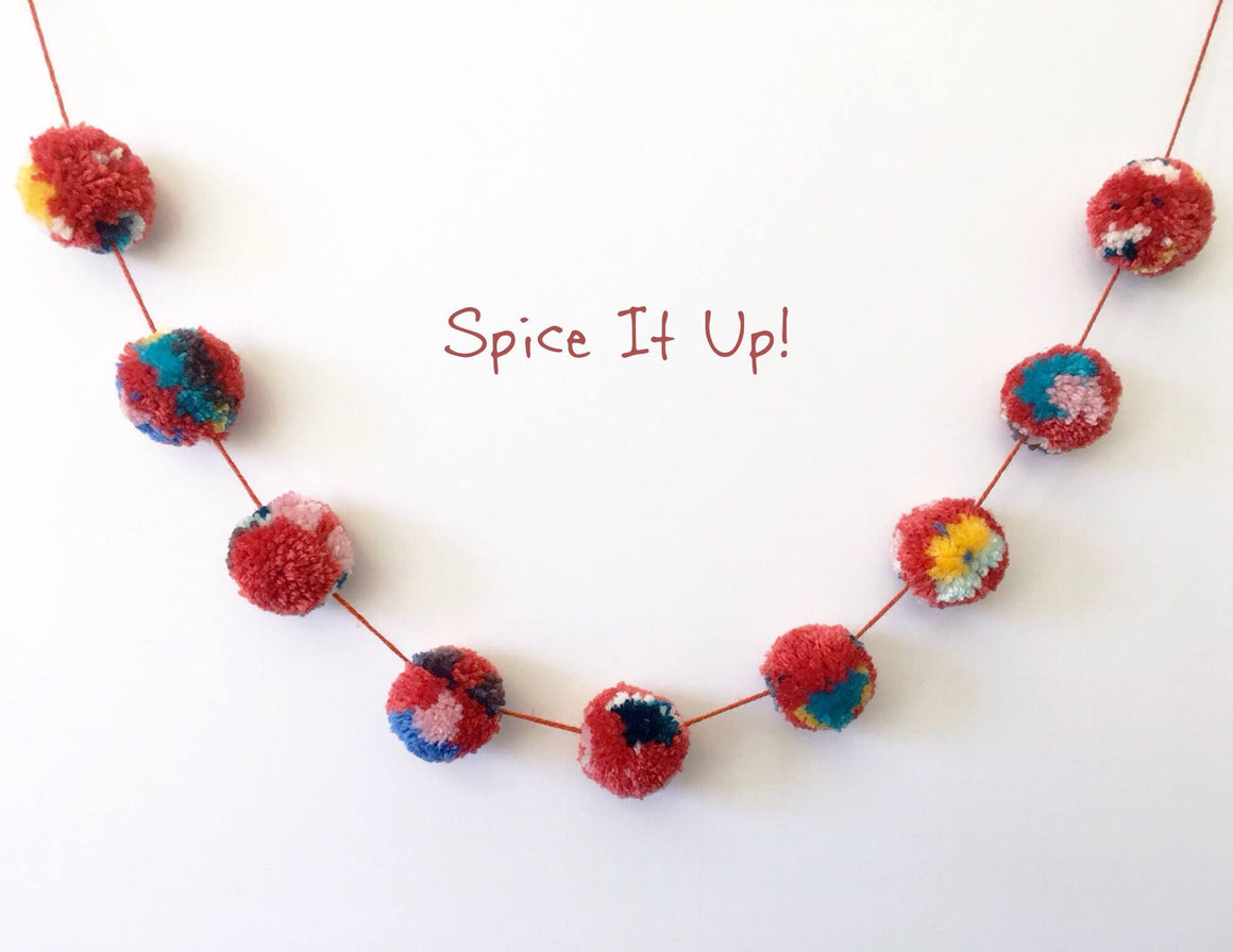 SPICE-IT-UP! POM POM GARLAND, Pom Pom Garland, BON + CO - Bon + Co. Party Studio