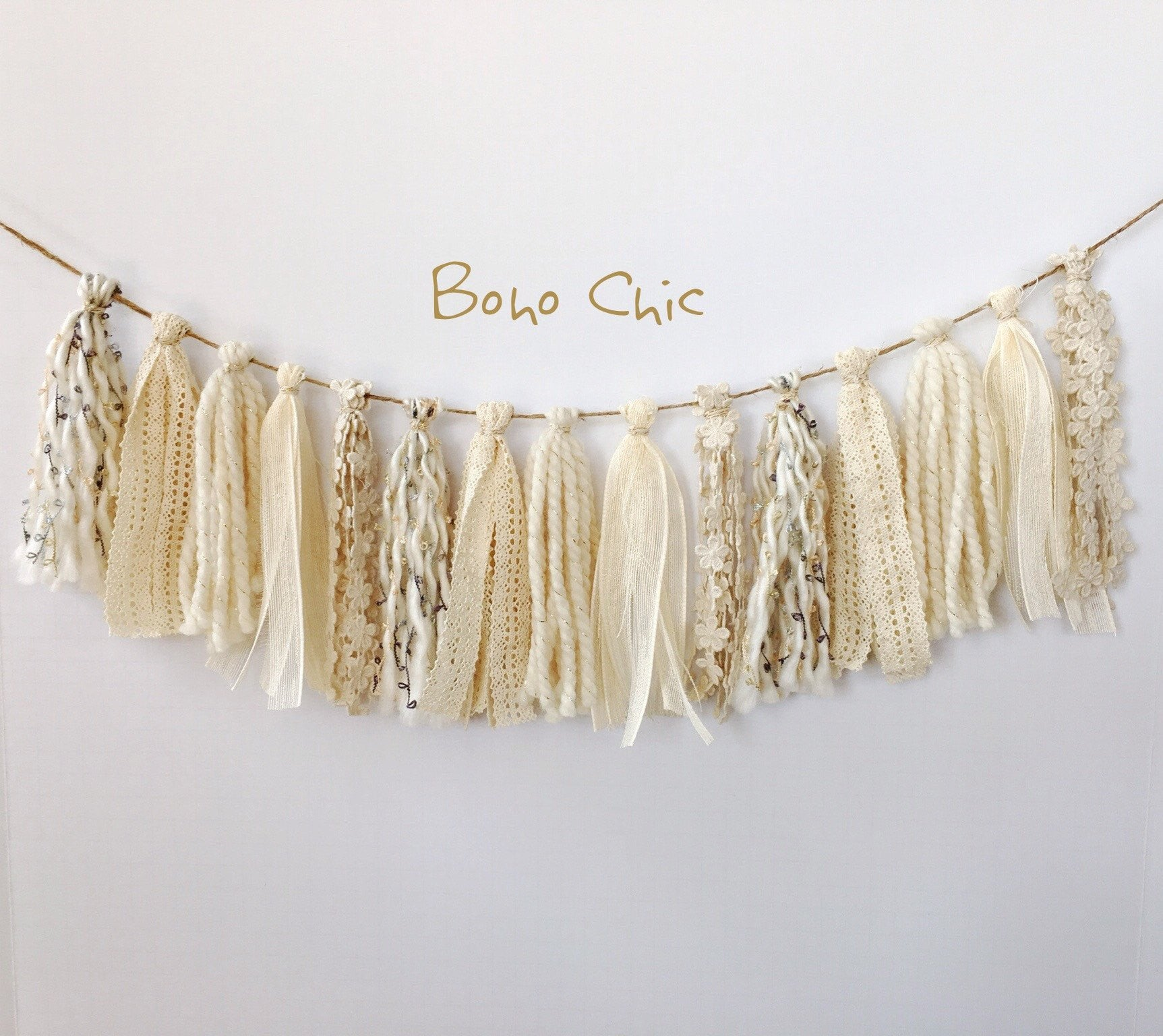 Tassel Garland Fabric Boho Chic Bon Co Party Studio Inc