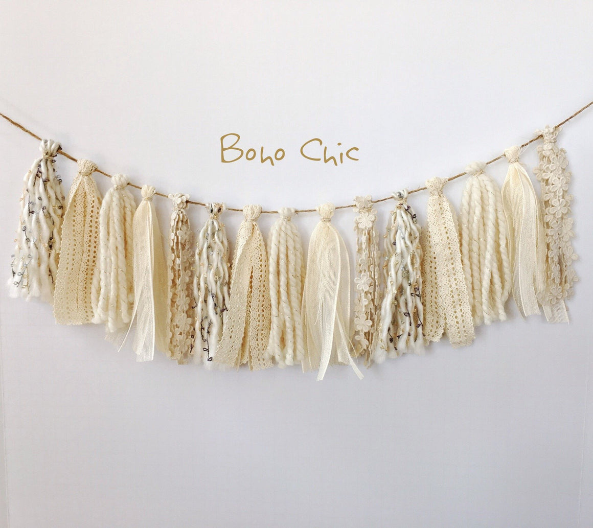 BOHO CHIC TASSEL GARLAND, Tassel Garland, BON + CO - Bon + Co. Party Studio