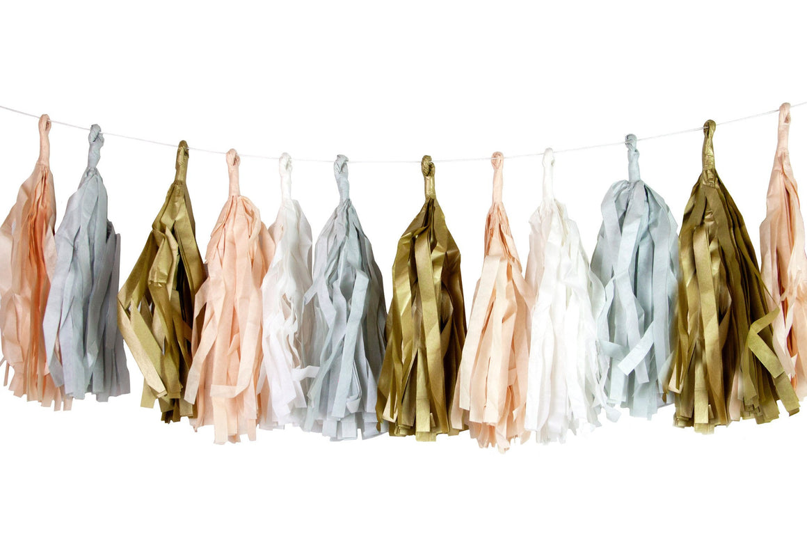 TASSEL GARLAND - TISSUE & METALLIC FOIL DECADENT DECS BLUSH