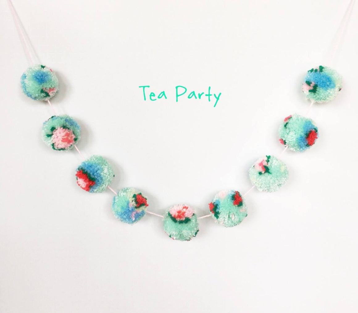 POM POM GARLAND - VINTAGE TEA ROSE FLORAL, Pom Pom Garland, BON + CO - Bon + Co. Party Studio