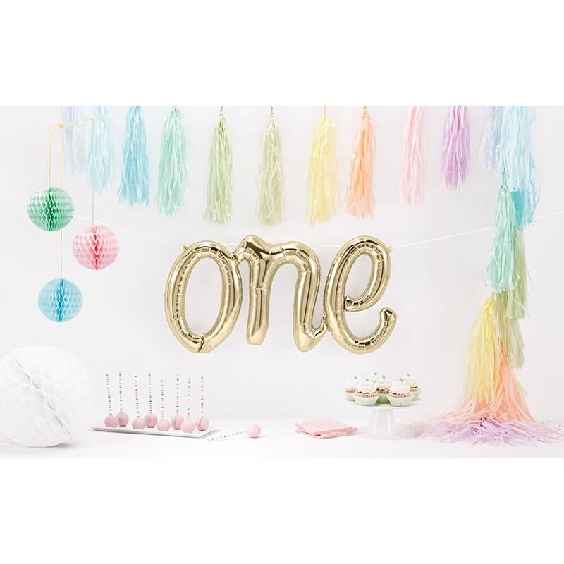 BALLOONS - SCRIPT WHITE GOLD ONE, Balloons, Northstar (Surprize Enterprize) - Bon + Co. Party Studio
