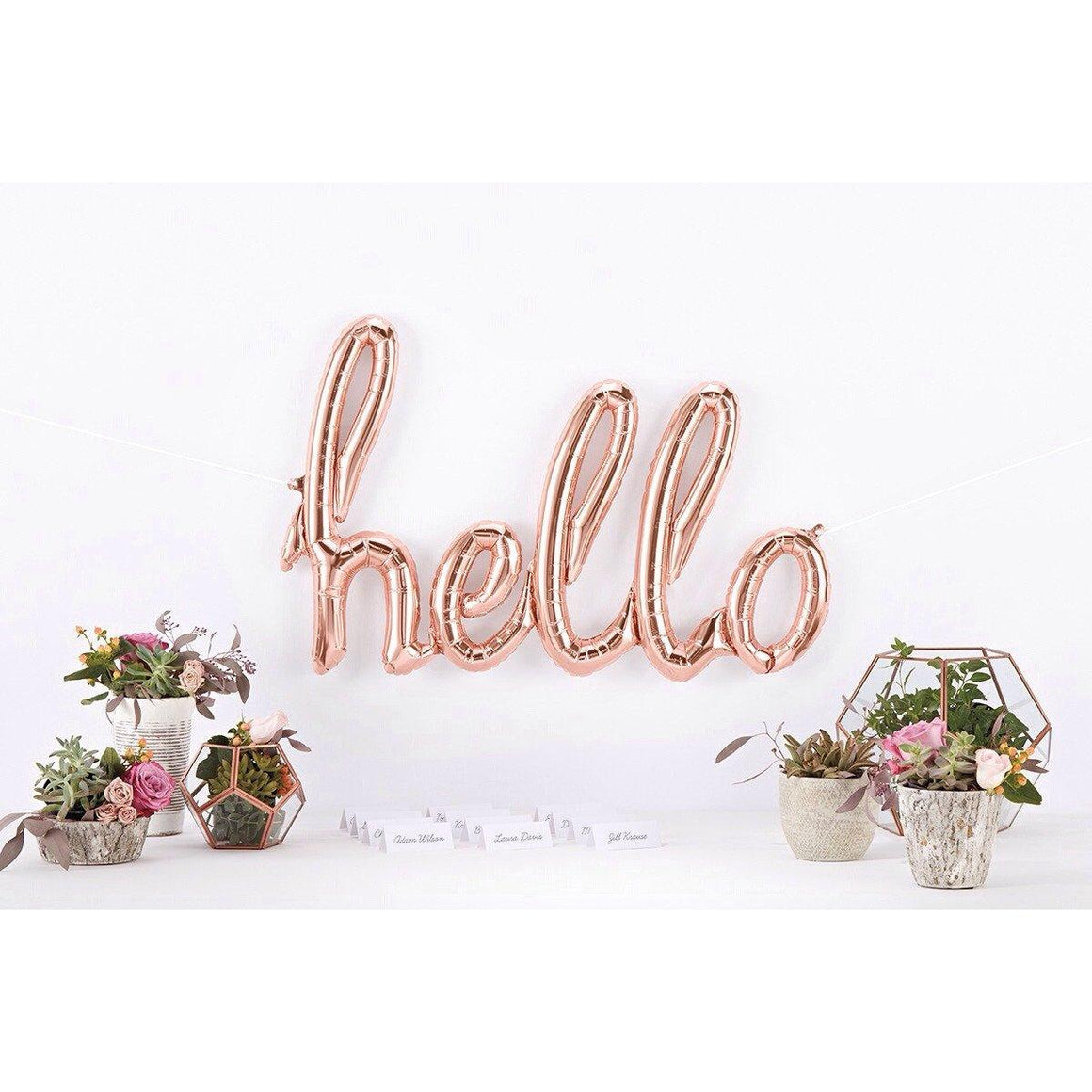BALLOONS - SCRIPT ROSE GOLD HELLO, Balloons, Northstar (Surprize Enterprize) - Bon + Co. Party Studio