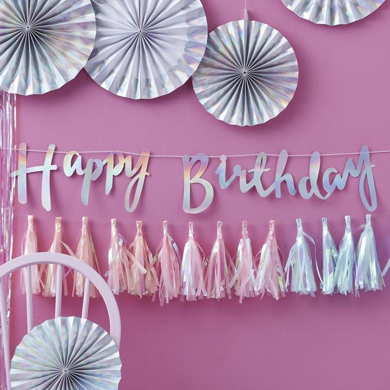 WORD MIX GARLAND - HAPPY BIRTHDAY IRIDESCENT