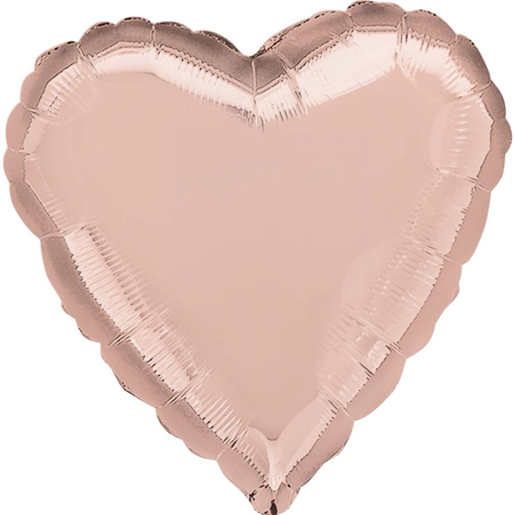 BALLOONS - ROSE GOLD HEART SHINY, Balloons, Anagram - Bon + Co. Party Studio