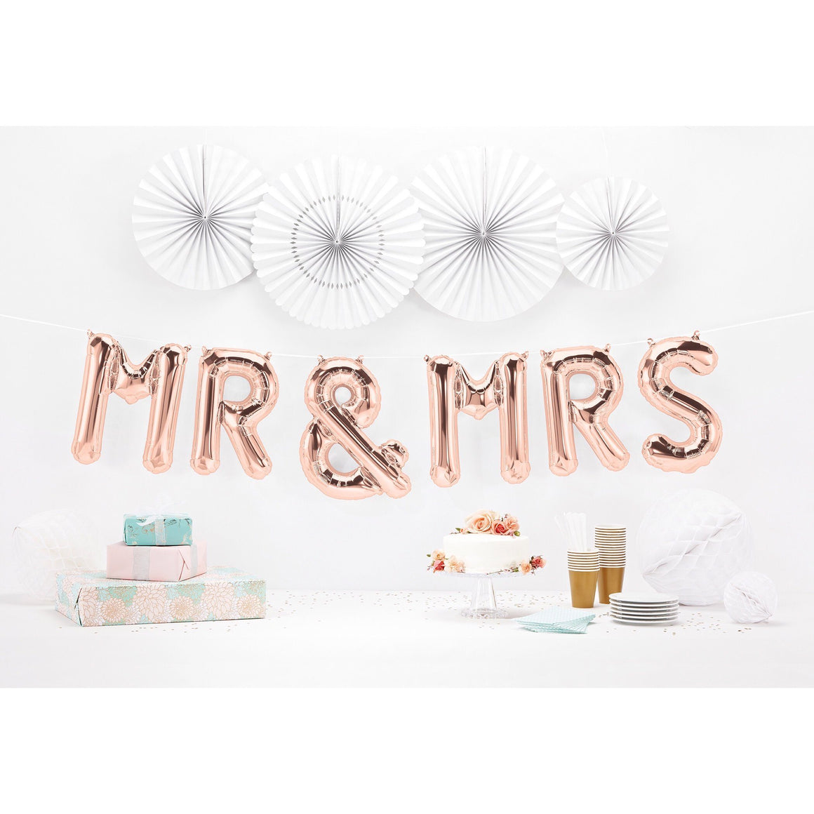 BALLOON BANNER - MR & MRS ROSE GOLD, Balloons, Northstar - Bon + Co. Party Studio