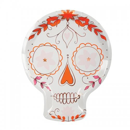 PLATES - LARGE ROSE GOLD SUGAR SKULL