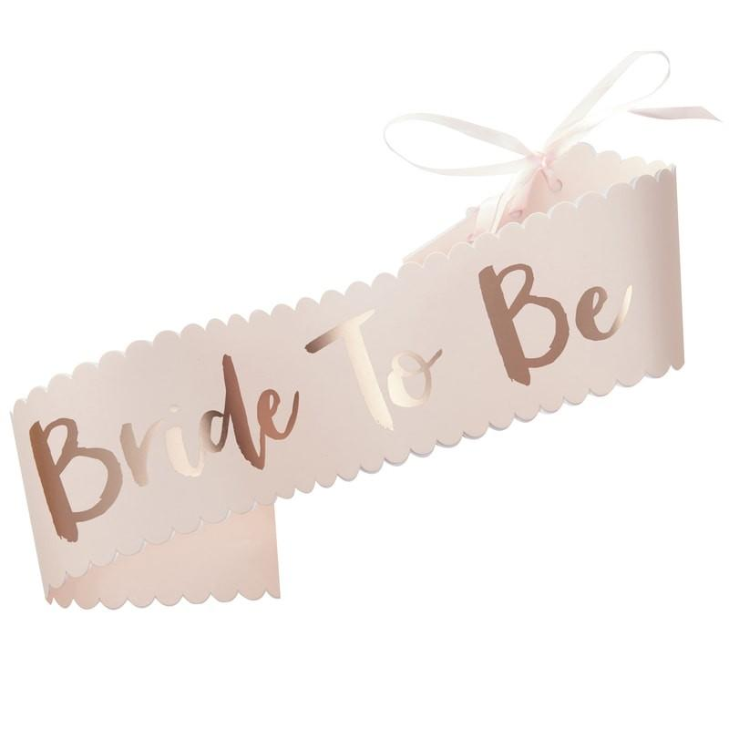 EXTRAS - BRIDE TO BE SASH BLUSH ROSEGOLD, EXTRAS, GINGER RAY - Bon + Co. Party Studio