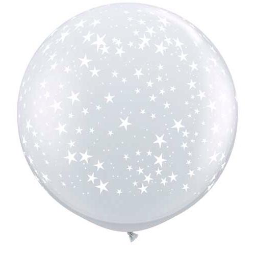 "BALLOONS - STAR - 36"" JUMBO ROUND CLEAR WITH STARS, Balloons, QUALATEX - Bon + Co. Party Studio"