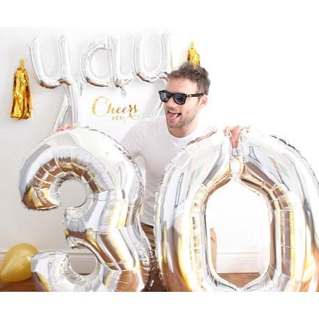 "BALLOON BAR - 40"" JUMBO LETTER, NUMBER OR SYMBOL SILVER, Balloons, BETALLIC - Bon + Co. Party Studio"