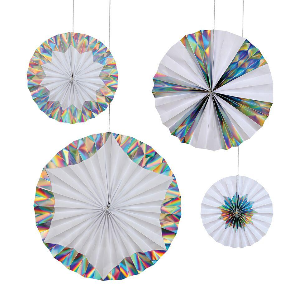 PARTY FANS - PINWHEELS GIANT HOLOGRAPHIC, HANGING DECOR, MERI MERI - Bon + Co. Party Studio