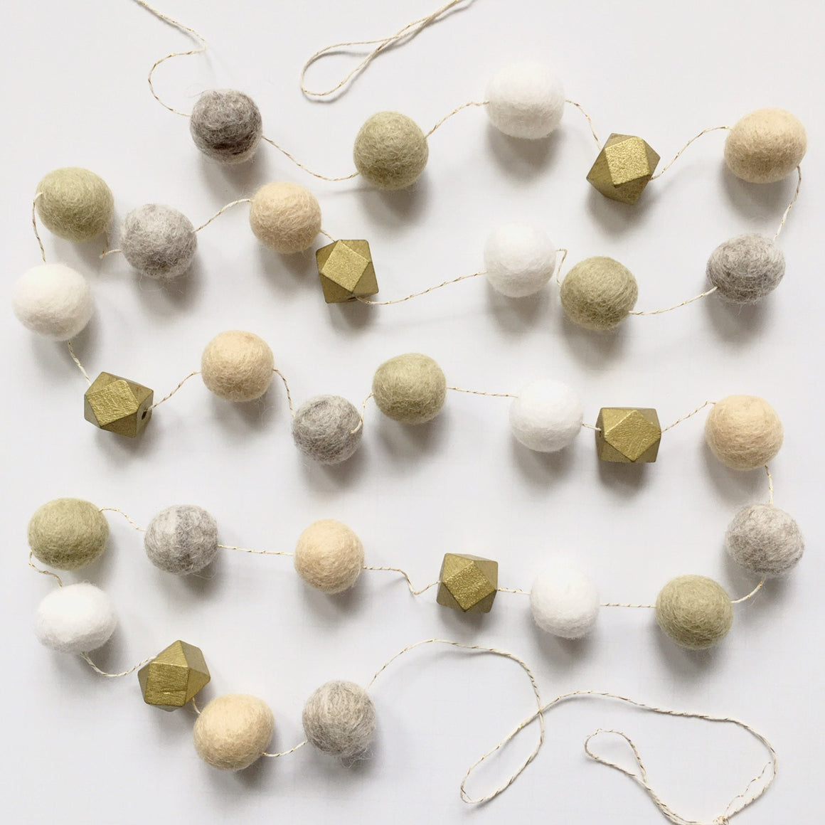 FELT + WOOD GARLAND - LITE LUXE, Felt Pom Garlands, BON + CO - Bon + Co. Party Studio