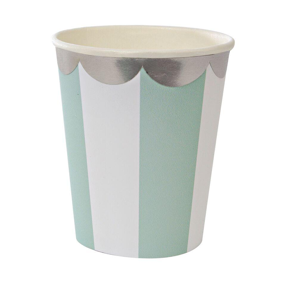 CUPS - STRIPE MINT SILVER FOIL
