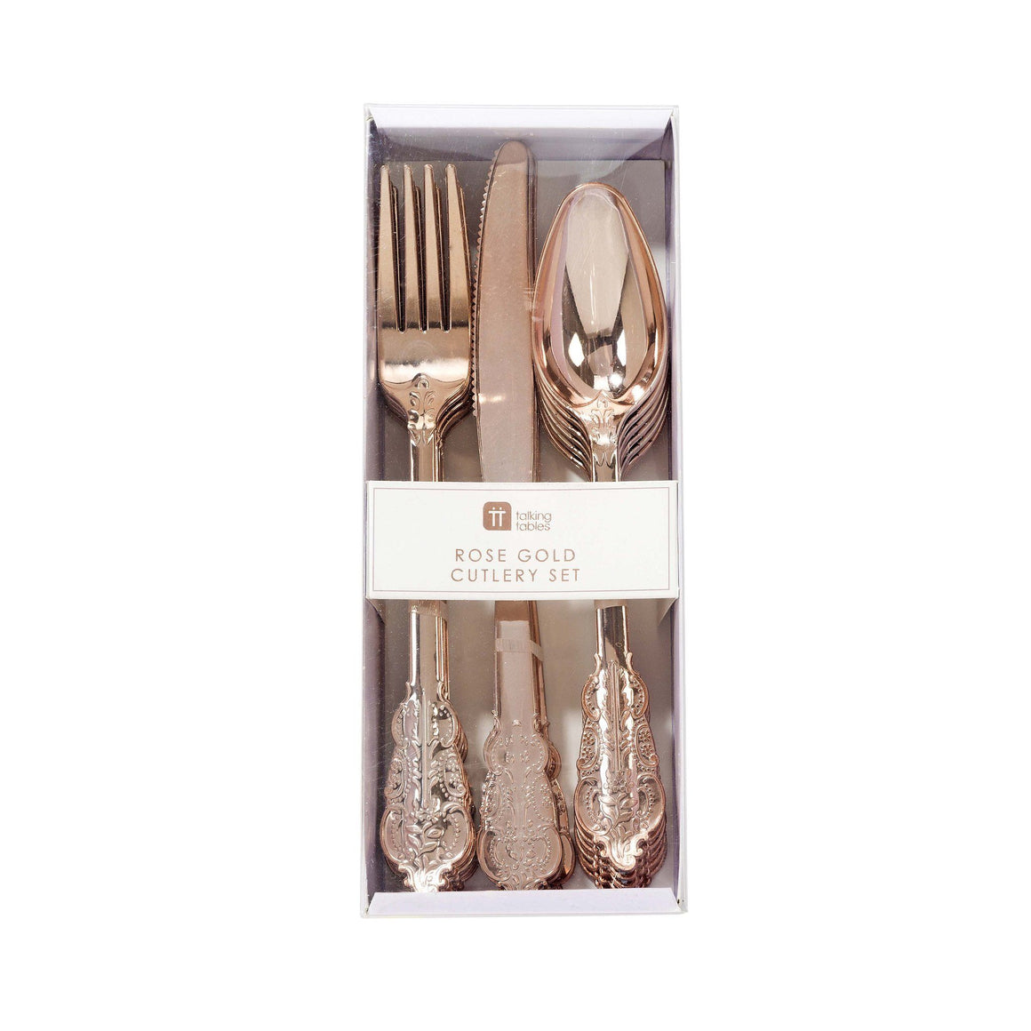 PREMIUM CUTLERY SET - ORNATE ROSE GOLD, Cutlery, TALKING TABLES - Bon + Co. Party Studio