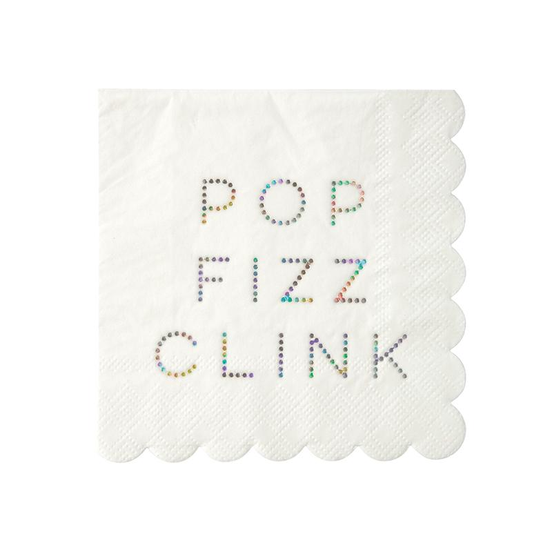 NAPKINS - COCKTAIL POP FIZZ CLINK IRIDESCENT