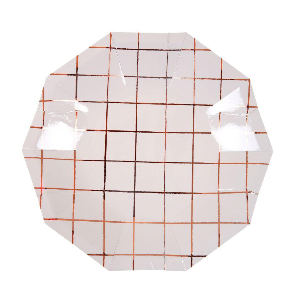 PLATES - SMALL ROSE GOLD GRID, PLATES, MERI MERI - Bon + Co. Party Studio