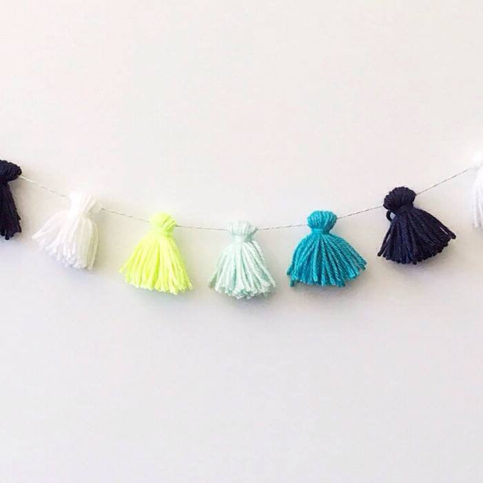 TOO COOL FOR BLUE TASSEL GARLAND, Tassel Garland, BON + CO - Bon + Co. Party Studio