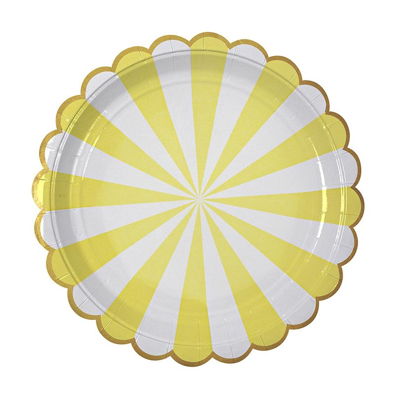 PLATES - LARGE PINWHEEL YELLOW STRIPE