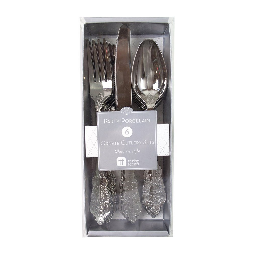 PREMIUM CUTLERY SET - ORNATE SILVER