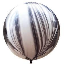 "BALLOON BAR - 30"" JUMBO ROUND BLACK AGATE MARBLE, Balloons, pioneer - Bon + Co. Party Studio"