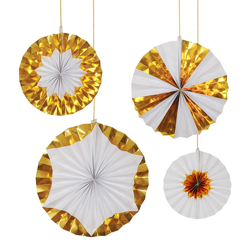 PARTY FANS - PINWHEELS GIANT GOLD, HANGING DECOR, MERI MERI - Bon + Co. Party Studio